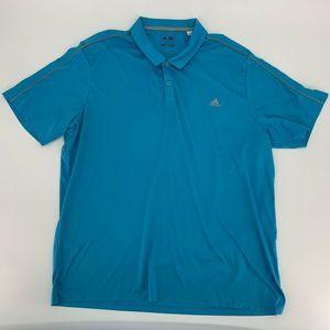 Adidas Mens Golf Shirt Size 2XL  Blue Short Sleeve